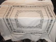 "ANTIQUE WHITE COTTON TABLECLOTH WITH OPEN WORK EMBROIDERY 48"" X  46"""